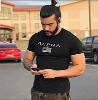 Коттоновая футболка мужская для спорта с надписью