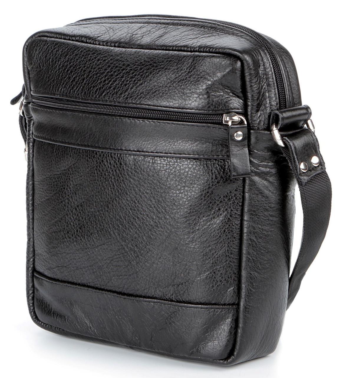 Елітна шкіряна чоловіча сумка SHVIGEL 00791 Чорна