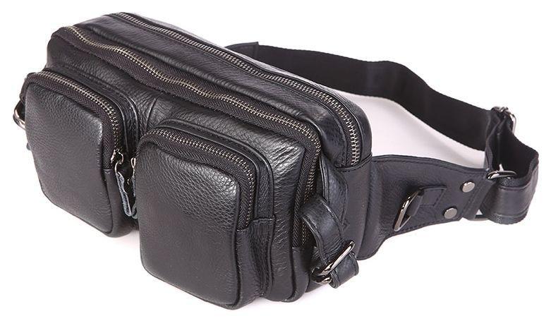 Поясная сумка Vintage 14389 кожаная Черная