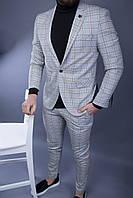 Мужской серый брючный костюм в клетку модный мужской брючный костюм двойка серый в клетку зауженные брюки