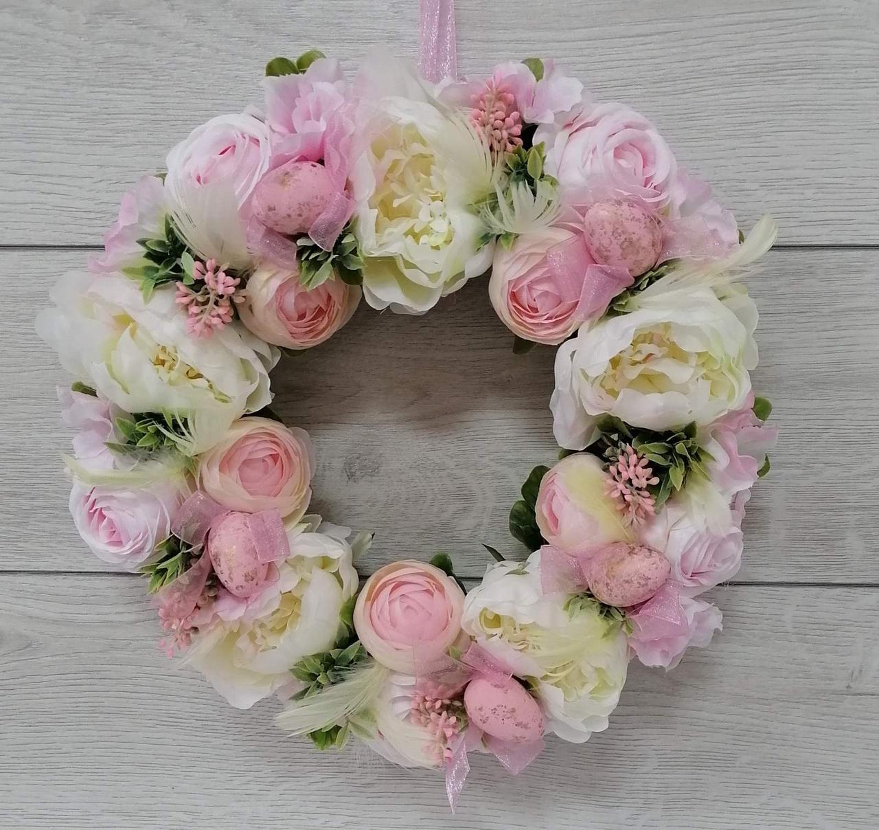 Пасхальный венок Волинські візерунки  на натуральной лозе (нежно-розовый)