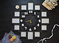 Деревянная фоторамка с часами, часы с фоторамками, 12 фоторамок, фотоколлаж с часами
