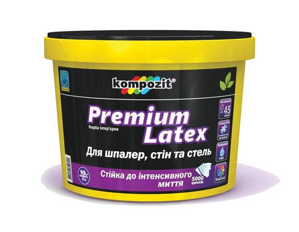 Фарба інтерєрна латексна Premium Latex КОМПОЗИТ 0,9 л   /8шт/, фото 2