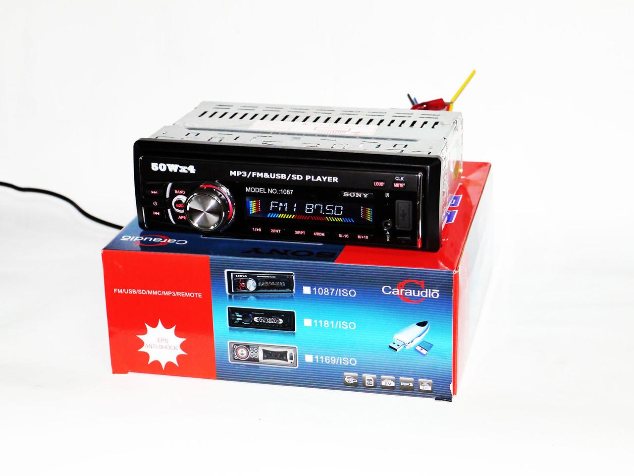Автомагнитола Sony 1087 Съемная панель - USB+SD+AUX+FM (4x50W)