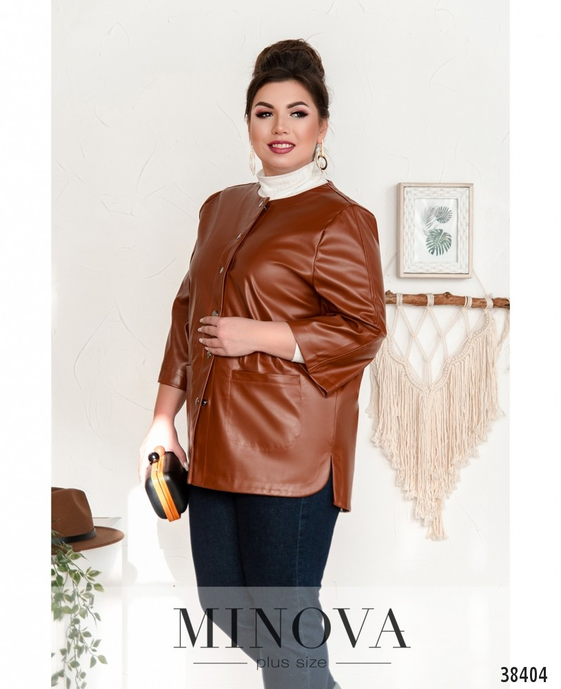 Модна куртка великого розміру з декоративними клапанами, розмір від 50 до 64