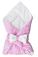 Плед, одеяло, конверт для новорожденных детское для девочки (Розовый)