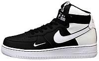 Мужские кроссовки Nike Air Force 1 High Black/White высокие Найк Аир Форс 1 черные