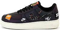 Мужские кроссовки Nike Air Force 1 Low Just Do It Reflective Black/White 2020 Найк Аир Форс 1 рефлектив черные
