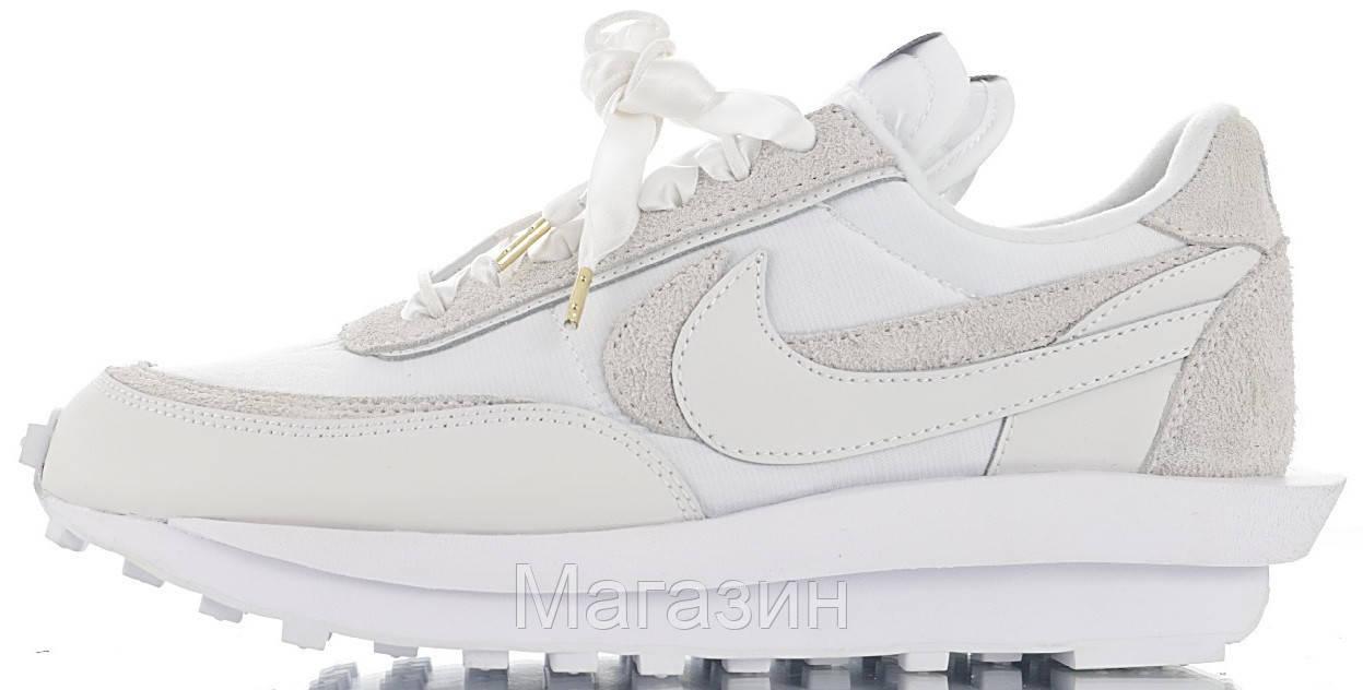 Мужские кроссовки Sacai x Nike LDV Waffle White (Найк) белые