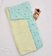 Плед, одеяло, конверт для новорожденных детское для девочки Синтепон