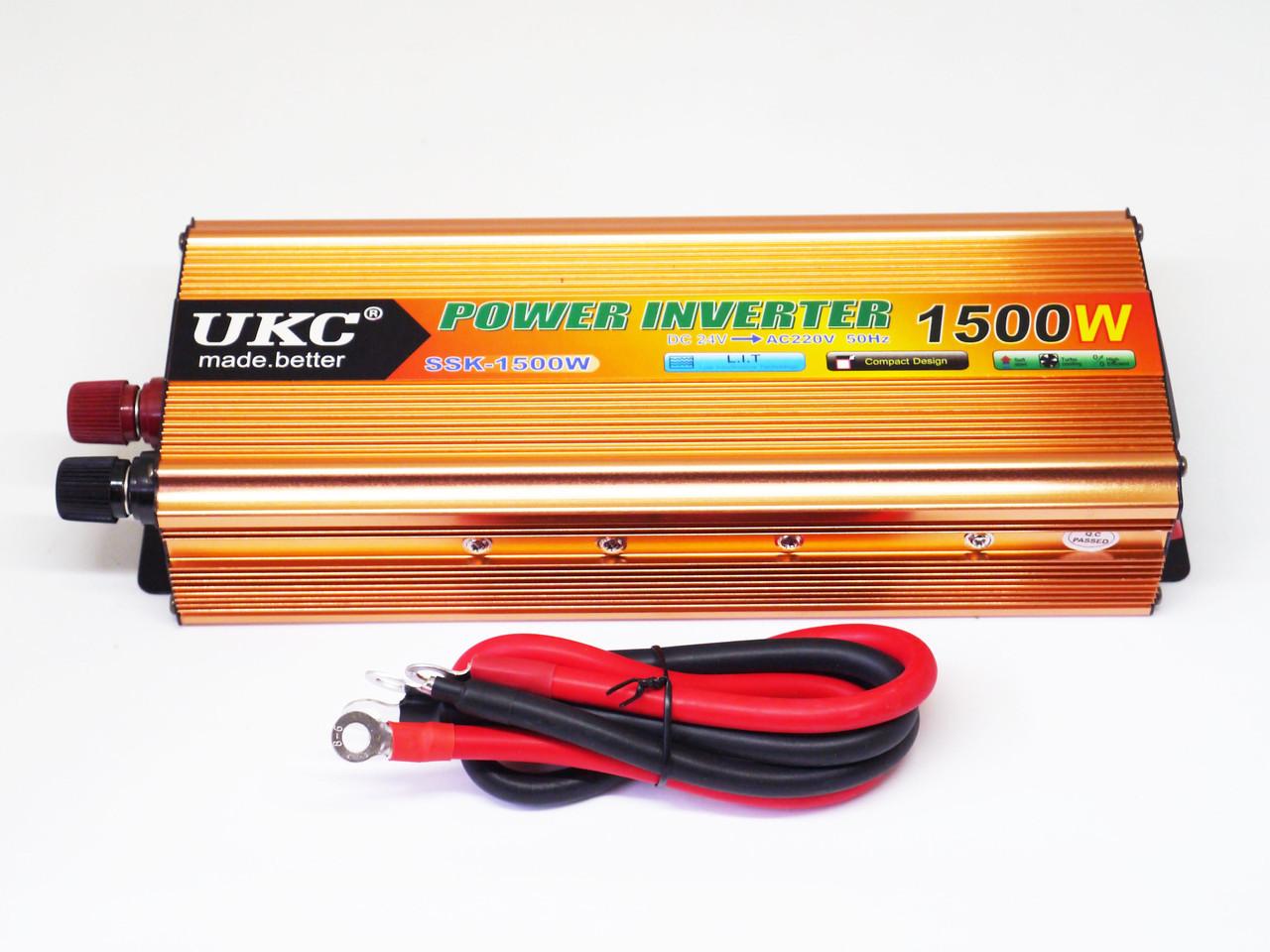 Инвертор UKC 1500W 24V Преобразователь тока AC/DC Gold