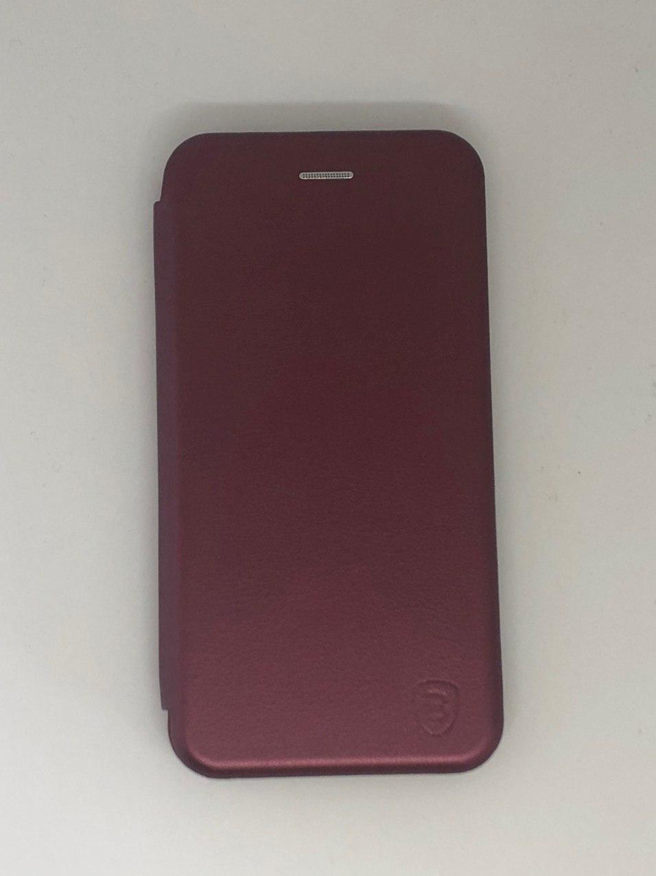 Чехол-книжка для Samsung A10 цвет винный, кожаный