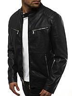 Мужская весенняя куртка-кожанка J.Style черная с карманами на груди