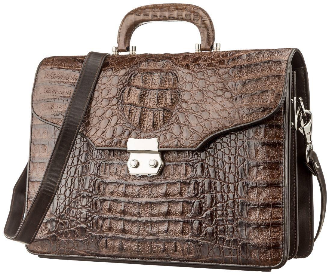 Портфель мужской CROCODILE LEATHER 18261 из натуральной кожи крокодила Коричневый