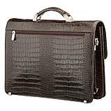 Портфель мужской KARYA 17270 кожаный Коричневый с тиснением под крокодила, фото 2