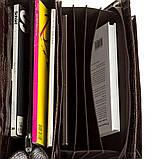 Портфель мужской KARYA 17270 кожаный Коричневый с тиснением под крокодила, фото 4