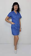 Медицинский женский халат Хлястик хлопок короткий рукав, фото 1