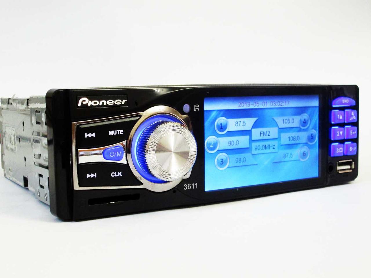 "Автомагнитола Pioneer 3612 ISO - 3,6"" TFT Video экран -Divx/mp4/mp3 USB+SD"