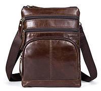 Сумка мужская гладкая Vintage 14731 Коричневая, Коричневый
