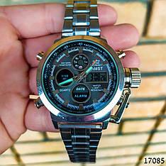 Часы мужские в стиле AMST. Мужские наручные часы серебристые. Часы с черным циферблатом Годинник чоловічий