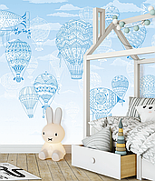 Флизелиновые обои в детскую с рельефом с 3D Аэростаты и воздушные шары150 см х 100 см