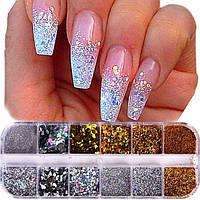 Глитер для декора ногтей, набор 12 цветов