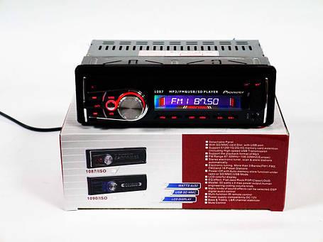 Автомагнитола Pioneer 1087 ISO Съемная панель Usb+Sd+Fm+Aux+ пульт, фото 2