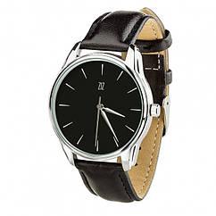 Часы Ziz Белым по черному, ремешок насыщенно-черный, серебро и дополнительный ремешок (142698)