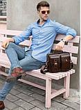 Деловая сумка на плечо кожаная Vintage 14820 Коричневая, фото 6