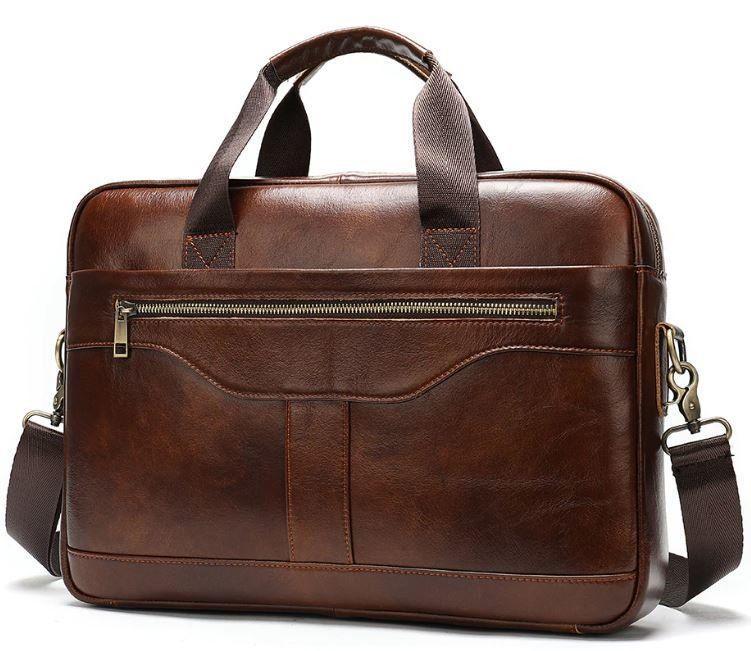Деловая мужская сумка из зернистой кожи Vintage 14837 Коричневая