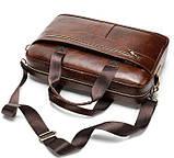 Деловая мужская сумка из зернистой кожи Vintage 14837 Коричневая, фото 3