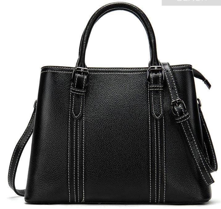 Класична жіноча сумка на шкірі флотар Vintage 14861 Чорна