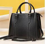 Класична жіноча сумка на шкірі флотар Vintage 14861 Чорна, фото 6