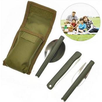 Кухонна туристичний набір Lesko 3в1 похідний ніж, виделка, ложка компактний