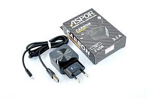 CЗУ-USB Aspor KeKe-F13C 2.1A 2 Usb + кабель iPhone 5 Carbon Series Black