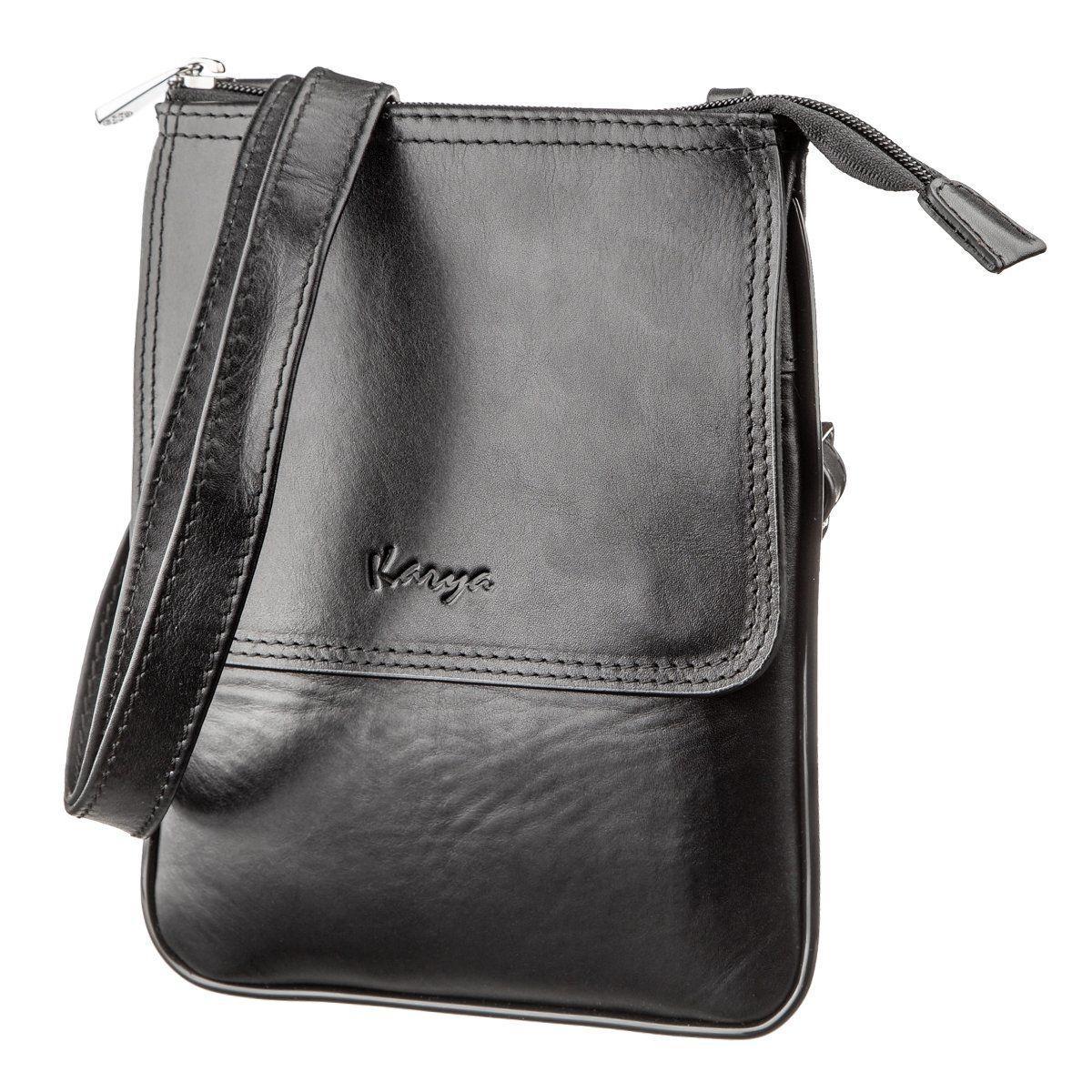 Малая сумка мужская гладкая кожа KARYA 17291 Черная