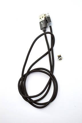 Кабель Usb-cable Micro USB 4you Magnetic black (2000mah, плетение Питон, 360град.) + iPhone, фото 2