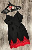 Черный пеньюар  с красным кружевом 039, пеньюары и ночные рубашки.