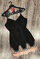 Черный пеньюар  с бежевым кружевом 039, пеньюары и ночные рубашки.