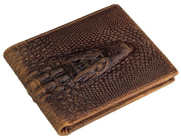 Кошелек мужской Vintage 14380 фактура кожи под крокодила коричневый