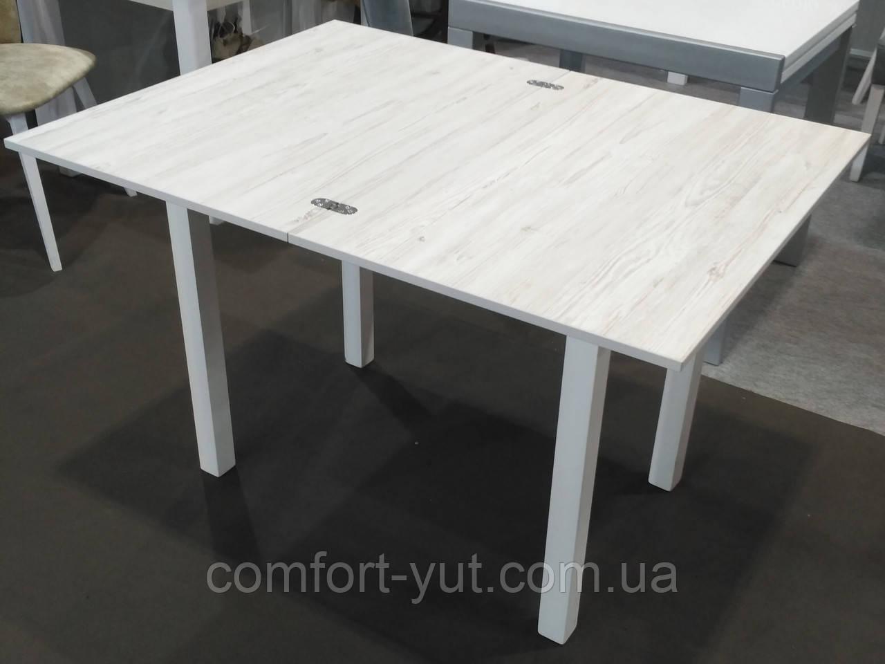 Стол кухонный раскладной обеденный Прага аляска -белый 90*60(120)*75см