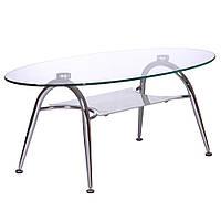 Журнальный стол KSD-CT-005 каркас хром, прозрачное закаленное стекло.
