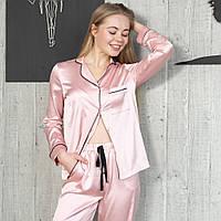 """Женская пижама с кантом """"Кремовая"""" Шелк, штаны и рубашка длинный рукав"""