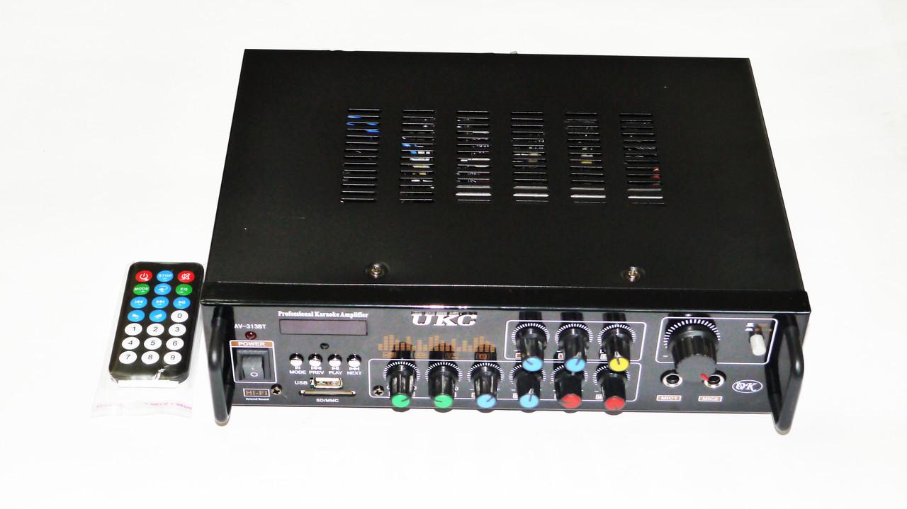 Усилитель UKC AV-313BT + КАРАОКЕ 2микрофона