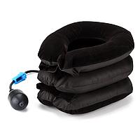 Надувная подушка воротник бархатная до 17см, коричневая