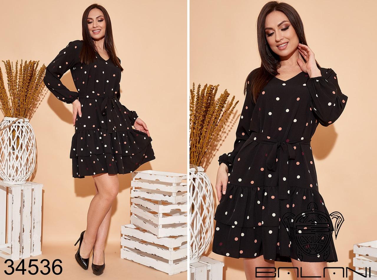 Элегантное женское платье в горошек размер: 48-52,54-58