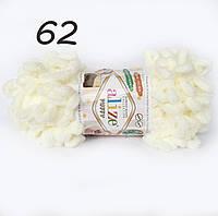 Пряжа Alize Puffy 62 молочный (Пуффи Ализе) для вязания без спиц руками с петельками петлями