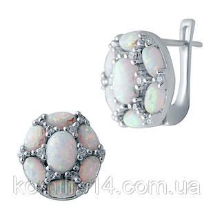 Серебряные серьги с благородным опалом