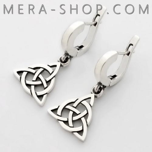 серебряные сережки с символом Трикветр Триглав