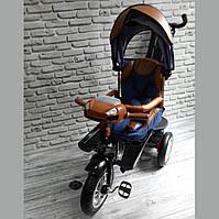 Детский трехколесный велосипед Best Trike 5099 (СИНИЙ), родительская ручка и поворотное сиденье